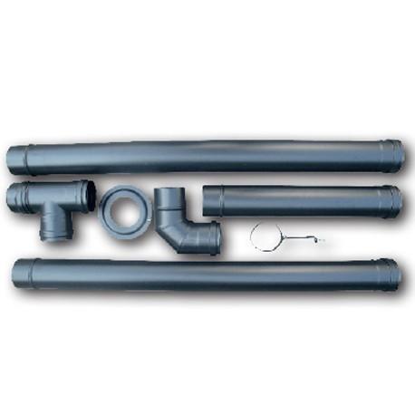 Kit de raccordement pour poele a pellet 80 mm en acier 2 mm couleur noir mat - Poil a granules prix ...