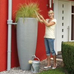 Tonneau à eau de pluie 2 en 1 - Gris