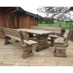 Table rectangulaire pieds en rondins