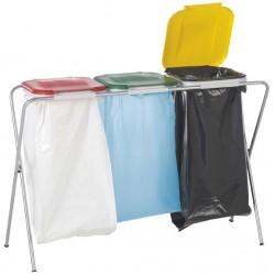 Support triple pour sacs poubelle