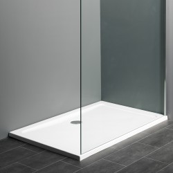 Receveur de douche en polybéton blanc