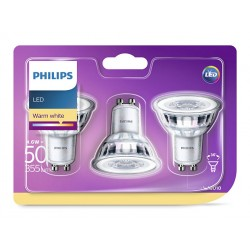 3 Ampoules GU10 PHILIPS LED Classic ~50W WW