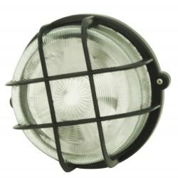 Hublot rond E27 avec grille PVC noir