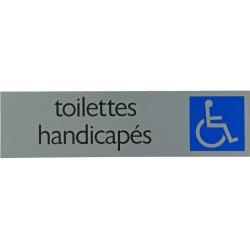 """Pictogramme alu """"toilettes handicapés"""" 165x44mm"""