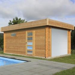 Garage en bois LULEA avec porte sectionelle