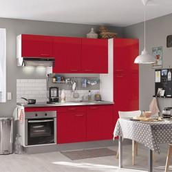 Bloc cuisine complet Rouge laqué