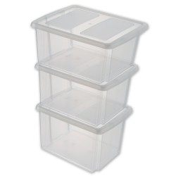 Set 3 Box NESTA transparents 32L